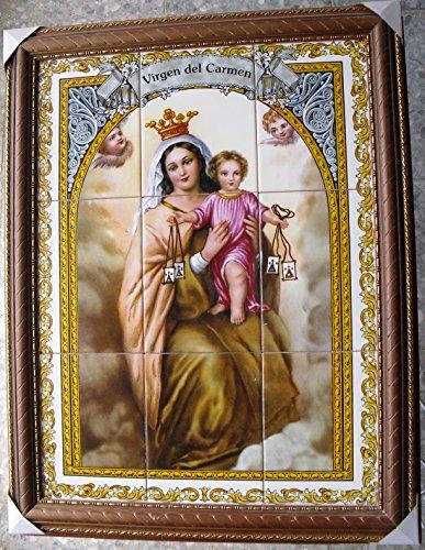 Rustiluz Cuadro Virgen del Carmen de Azulejos Enmarcado.