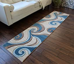 Masada Rugs Sophia Collection Hand Carved Area Rug Modern Contemporary Mink Blue (2 Feet X 7 Feet 3 Inch) Runner