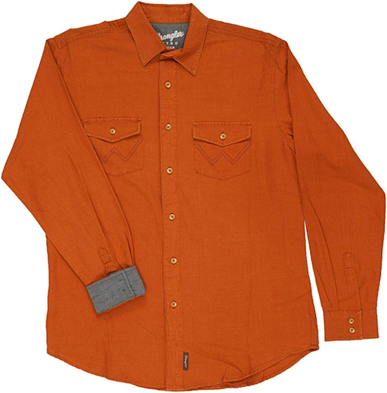 Wrangler Men's Retro Premium Solid Amber Long Sleeve Button-Down Western Shirt Orange
