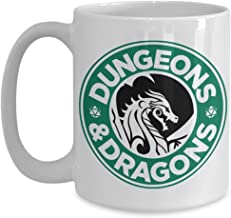 Dungeons and Dragons Coffee Starbucks Logo Parody White Ceramic Coffee Mug - Funny Gift Idea for Geeks and Nerds