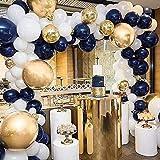 PartyWoo Ballon Blanc Dore Bleu, 50 pcs 12 Pouces Ballon Bleu Marine, Ballons Bleu Roi, Ballon Blanc, Ballon Doré, Ballon Confettis Or, Ballon Metallique pour Decoration Anniversaire Bleu Marine