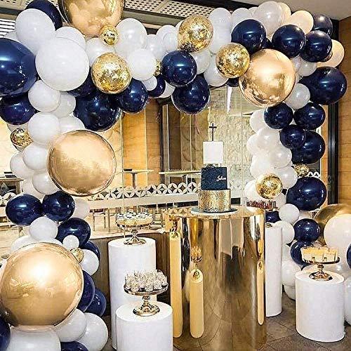 PartyWoo Luftballons Blau Gold, 50 Stück Satz von Marineblau Luftballons, Metallic Luftballons Gold, Luftballons Weiß und Luftballons Konfetti Gold, Latexballons für Navy Partydeko, Baby Shower Junge