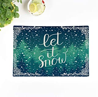 Topyee Placemats Set of 8 Let It Snow Christmas Greeting Card Winter Holidays Landscape with Hand Lettering 17x12.5 Inch Non-Slip Washable Place Mats for Kitchen Dinner Table Mats Parties Decor