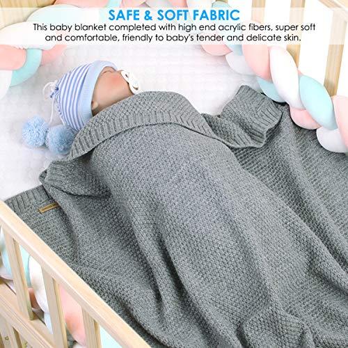 Leyeet Manta de ganchillo para bebé y niña, manta de ganchillo para...