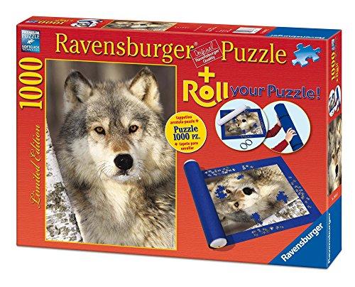 Ravensburger - Roll Your Puzzle + Puzzle 1000 Teile, Motiv Wolf (19911 2)