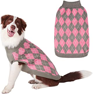 PAWCHIE Classic Dog Sweater Knit Turtleneck, Plaid Knitwear Sweaters, Warm Clothes for Small to Large Dogs