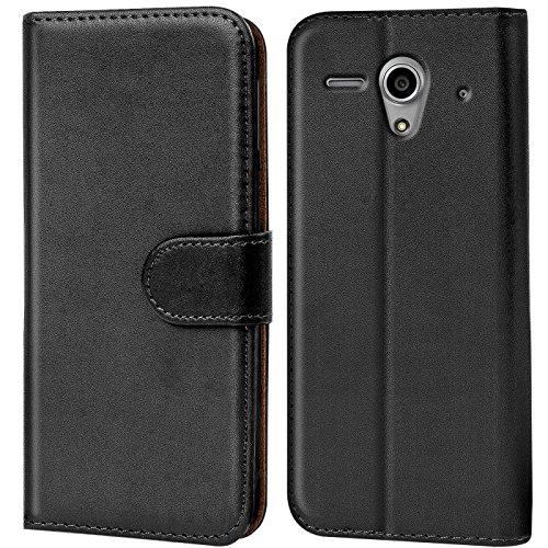 Verco Funda para Huawei Ascend G300, Telefono Movil Case Compatible con Huawei Ascend G300 Libro Protectora Carcasa, Negro