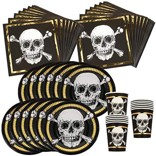 com-four® 48-teiliges Partygeschirr Set - Teller, Becher und Servietten - für Piratenparty, Kindergeburtstag & Halloween (Partygeschirr - 48-teilig - 12 Gäste)