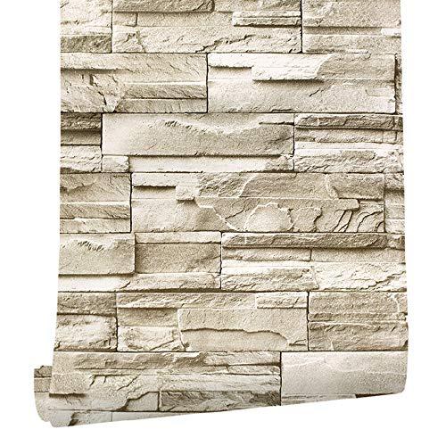 HOMOH Steintapete3D Tapete selbstklebend Ziegelstein Wandtapete 0.45 * 6M Industrial Wandaufkleber Wandpaneele Stein Mauer Klebefolie für Wohnzimmer, Schlafzimmer Flur (90041)