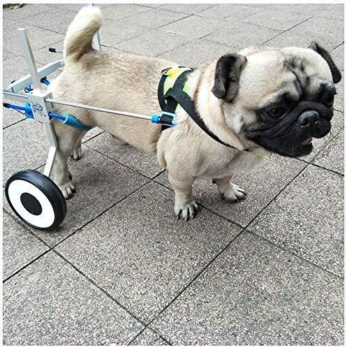 AYHa Carros para perros, adecuados para mascotas, rehabilitación, discapacidad de la extremidad, caminar, perros grandes y pequeños, ajustables, 2 ruedas, 1.5 Kg - 50,** S