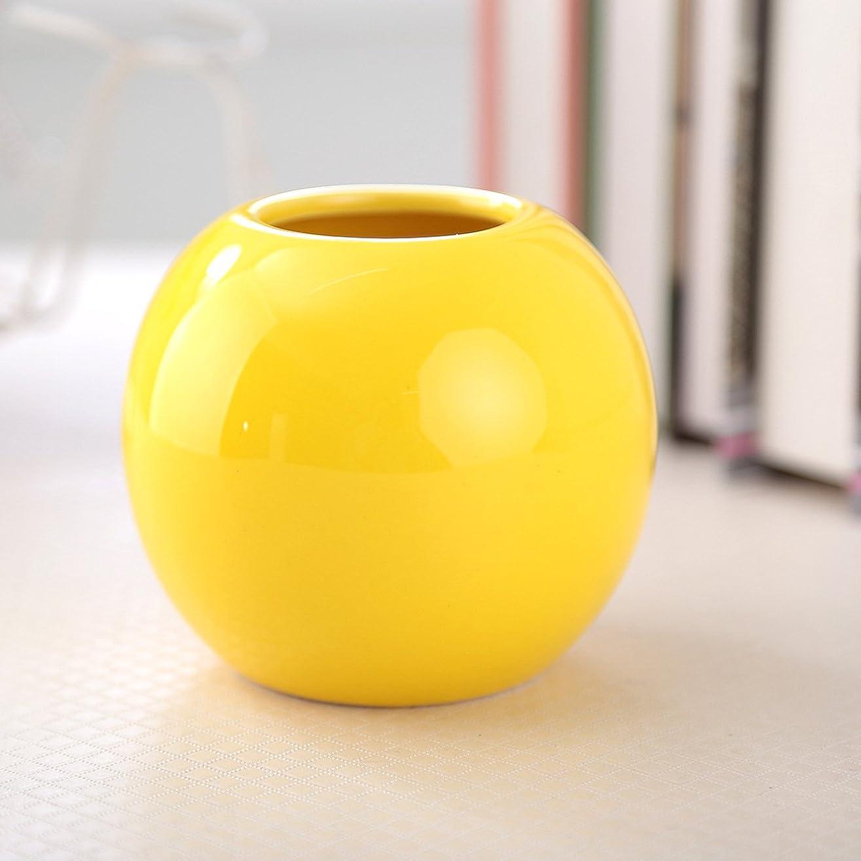 花瓶 陶器花器 ホワイトフラワーベース セラミック花瓶 イエロー おしゃれ 北欧 生け花 家の装飾 Flower Vase