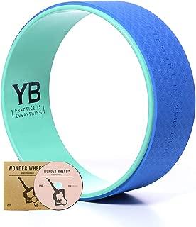 YOGABODY Jumbo Yoga Wheel, The Wonder Wheel, DVD and PDF Pose Chart Included, Teal/Blue