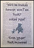 Winnie The Pooh Quote Print Vintage Dictionary Page Picture Wall Art Friends