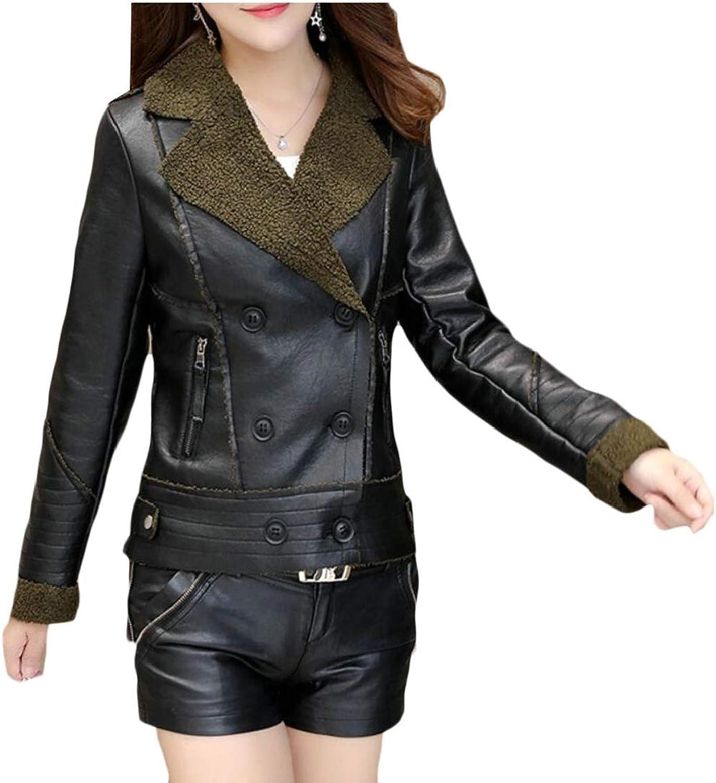 GenericWomen Faux Short Coat Leather Jacket Parka Overcoat Outwear