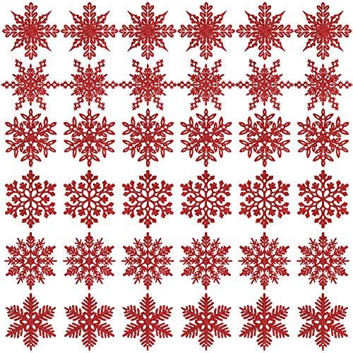 K KUMEED 36 Stück Weihnachtsbaum Deko Schneeflocken Deko Schneeflocken Christbaumschmuck Deko für den Weihnachtsbaum, Schneeflocken Weihnachtsbaum Christbaumschmuck Rot Weihnachtsbaum Schneeflocke