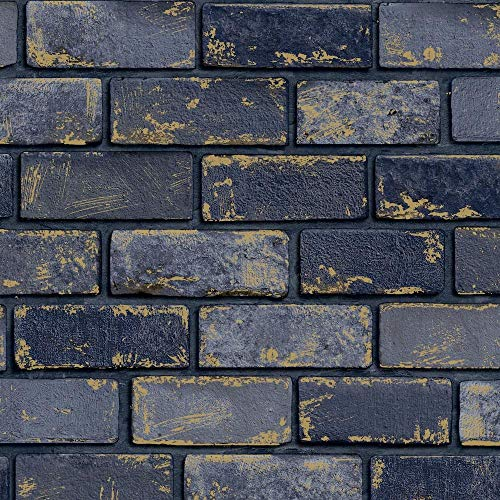 3D Effect Navy Blue Gold Metallic Brick Wallpaper Stone Industrial Y�L