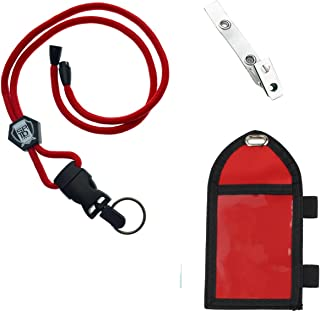 Ultimate Nylon Badge Holder with Pen Loop Key Ring and Heavy Duty Lanyard, by Specialist ID (Red)