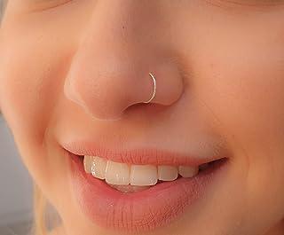 Tiny Silver Nose Ring hoop - 24 gauge snug Nose Hoop thin nose Piercings hoops - nose piercing rings