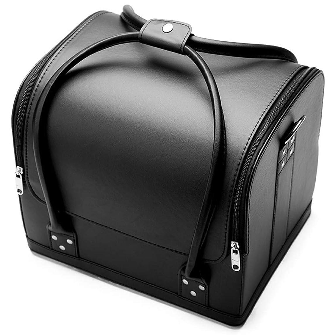 広い積極的にスキル[テンカ] メイクボックス コスメボックス 黒 ネイリストバッグ 化粧箱 収納ケース 収納ボックス 防水 洗える 化粧品?化粧道具入れ 自宅?出張?旅行?アウトドア撮影 プロ用 大容量 多機能