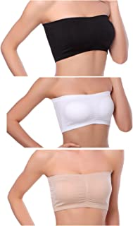 Venbond 1-4Packs Women's Seamless Bandeau Crop Tube Top Bra Strapless Padded Bralette