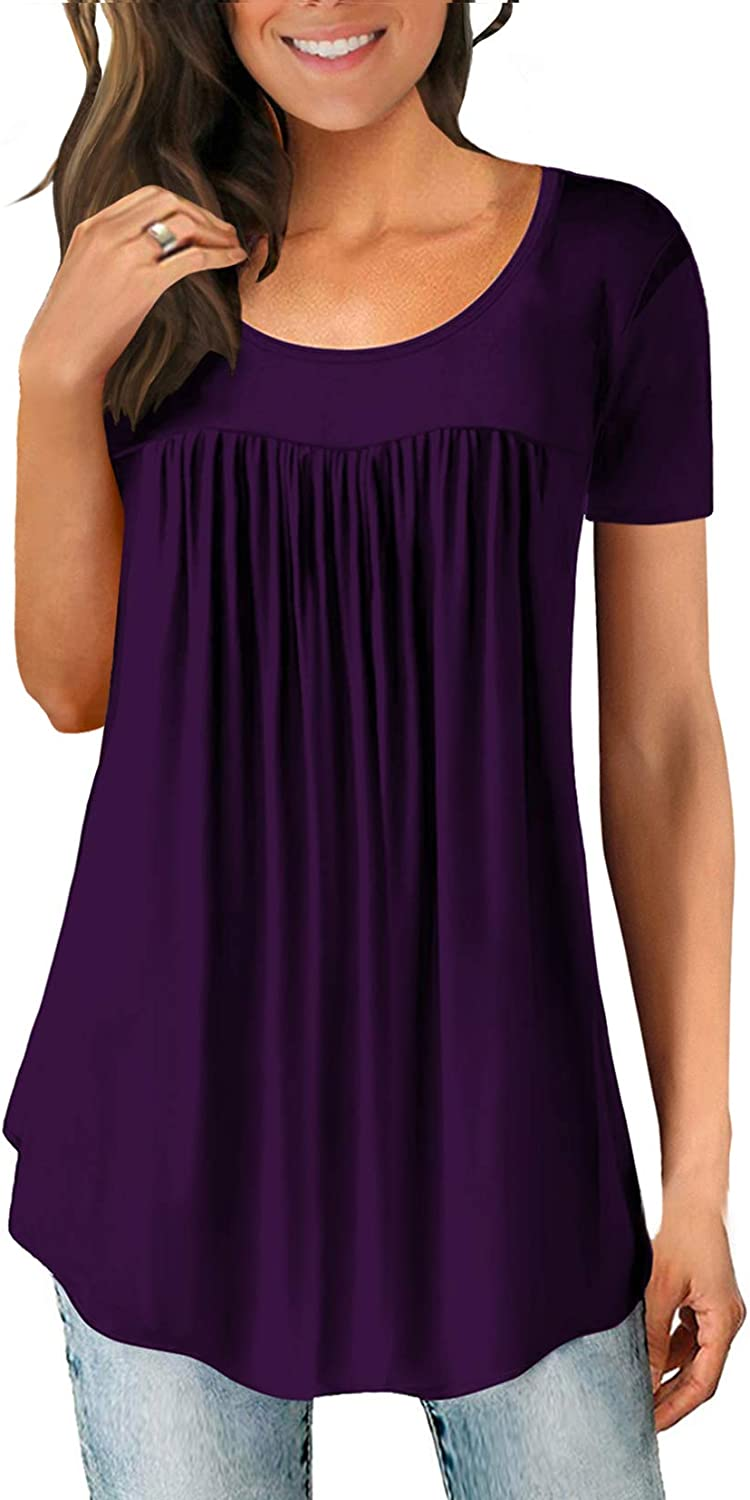 Women's Shirts Casual Blouse Short Sleeve Ruffle Button Up Tunic Tops Solid Color Fit Flare