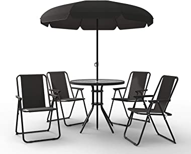 Homevibes 6 Piece Outdoor Patio Set Outdoor Dining Set Table and 4 Folding Chairs with Umbrella Backyard Deck Furniture Set,
