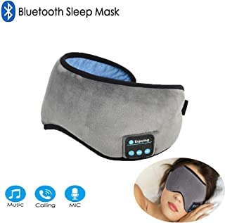 Bluetooth Sleeping Eye Mask Headphones, Grey Wireless Sleep Headphone, Built-in Bluetooth 4.2 Speakers Microphone Adjustable&Washable, Perfect for Air Travel, Siesta