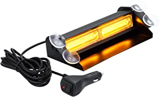 Amber LED Emergency Strobe Dash Lights with Suction Cups, WOWTOU Aluminum 16W Interior Deck Windshield Safety Warning Flashing Light for Vehicles Trucks Security Cars