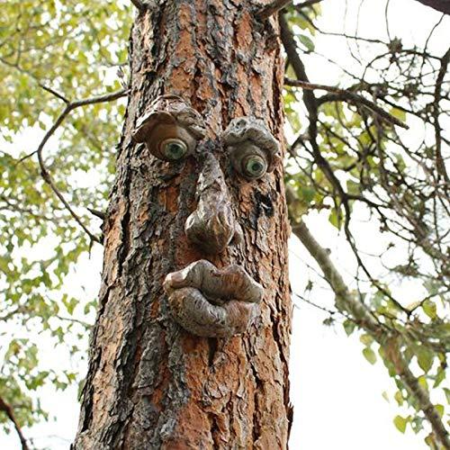 TinaDeer Albero Viso Tronco Albero Deco,Volto Decorativo Uomo Anziano-Vecchio uomo Tree Hugger Albero Scultura Pasqua Decorazione per Giardino del Viso all'aperto Divertente Puntelli (C)