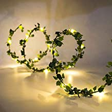 DEDC 3 Meter 30 LED String Lights Kunstmatige Klimop Nep Garland Groen Blad Planten Wijnstok Batterij Operate Fairy String...