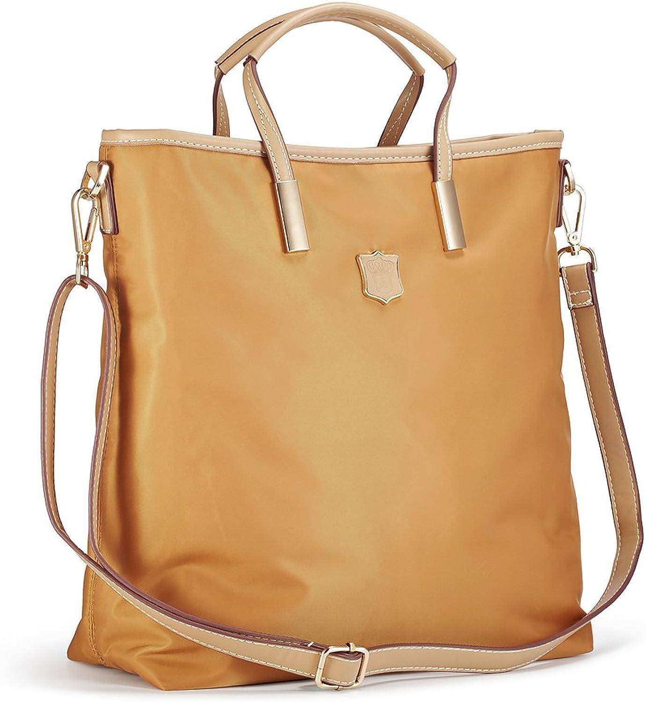 Lecxci Women's Oxford Nylon Large Capacity Waterproof Tote Bag Satchel Multipocket Shoulder Travel Bags for Women