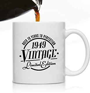 1949 Vintage Edition 70th Birthday Coffee Mug for Men and Women (70th Anniversary) 11 oz- Ceramic Happy Birthday Coffee Cup | Classic Birthday Gift, Reunion Gift for Him or Her | Front and Back Print
