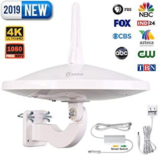 ANTOP UFO 720°Dual-Omni-Directional Outdoor HDTV Antenna Exclusive Smartpass Amplifier &4G LTE Filter,Enhanced VHF/UHF Reception,Fit Outdoor/RV/Attic Use(33ft Coaxial Cable,4K UHD Ready)