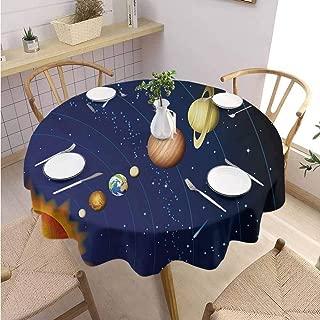DILITECK Space Restaurant Round Tablecloth Solar System with Sun Uranus Venus Jupiter Mars Pluto Saturn Neptune Image Table Decoration Diameter 50