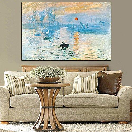 Claude Monet Impressionist Sonnenaufgang Landschaft Ölgemälde Leinwand Poster Wohnzimmer rahmenlose Wandmalerei A83 60x90cm