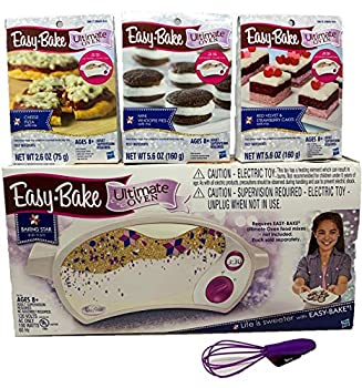 Easy Bake Oven Easy Bake Ultimate Oven Baking Bundle Baking Star Edition + Larger Size 13.8 Oz Easy Bake 3-Pack Refill Mixes  Pizza Whoopie Pies and Red Velvet & Strawberry Cakes  + Mini Whisk