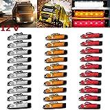 PolarLander 30Pcs 12V 6LED Indicatori di direzione Laterali Luci Lampada per Auto Camion Rimorchio Camion 6 LED Ambra Clearence Bus Impermeabile Rosso/Giallo/Bianco