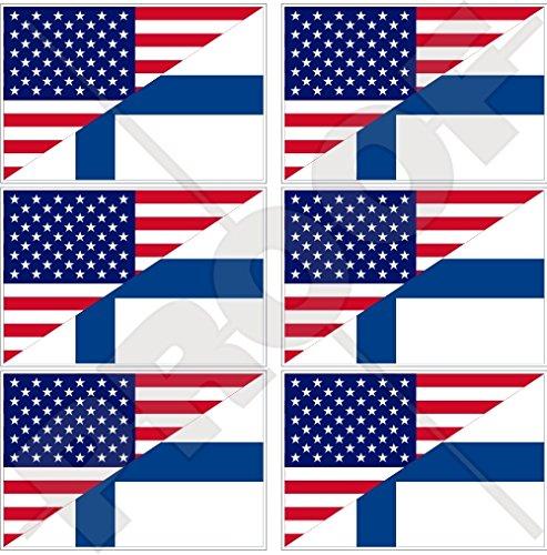 Lot de 6 mini autocollants en vinyle pour téléphone portable avec drapeau américain et finlandais 40 mm