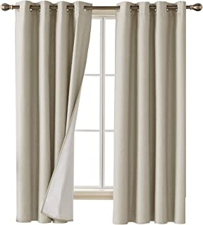 Deconovo Faux Linen Blackout Curtains with 3 Pass Energy Efficient Thermal Insulated Coating Room Darkening Curtains Drapes for Dining Room 52 x 72 Inch 2 Curtain Panels Khaki