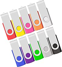 4GB USB Flash Drive, Flash Stick 4 GB 10 Pack Memory Stick JBOS Swivel Thumb Drives Gig Stick USB2.0 Pen Drive for Fold Di...