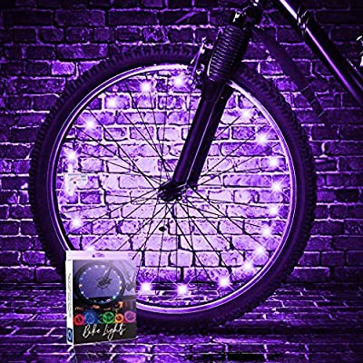 TINANA 2-Tire Pack LED Bike Wheel Lights Ultra Bright Waterproof Bicycle Spoke Lights Cycling Decoration Safety Warning Tire Strip Light for Kids Adults Night Riding