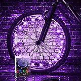 TINANA LED Bike Wheel Lights (1 Wheel Pack) Ultra Bright Waterproof Bicycle Spoke Lights Cycling Decoration Safety Warning Tire Strip Light for Kids Adults Night Riding(Purple)