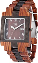 TJW Mens Wooden Watches Rectangled Watch Handmade Vintage Casual Wrist Watch Bamboo Watch 8018