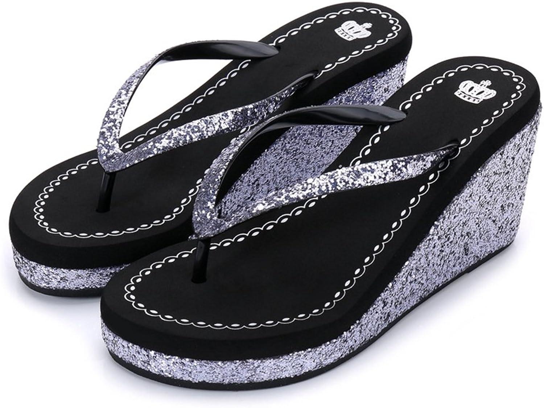 Womens Ladies Wedge Platform Sparkle Glitter Sequins Diamond Flip Flops High Heel Slip On Thongs Summer Sandals