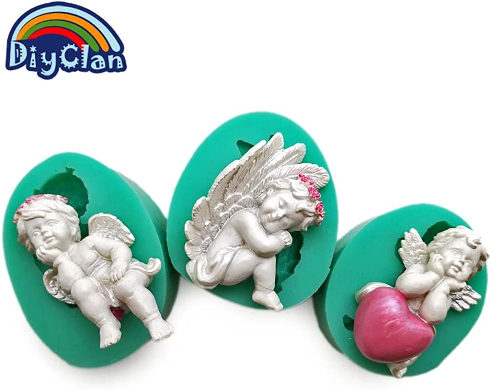 Star Trade Inc 3 Style DIY Silicone Fondant Cake Cupid Little Angel Molds Cake Decoration Tools Chocolate Mold Mini Style Candy Clay Mould 1pcs Random Style