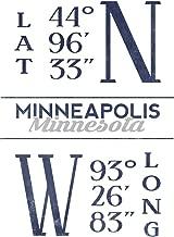 Minneapolis, Minnesota - Latitude and Longitude (Blue) (16x24 Fine Art Giclee Gallery Print, Home Wall Decor Artwork Poster)