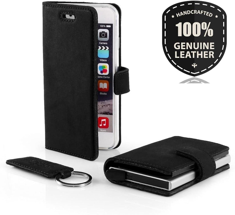SURAZO Leder Geschenkset Handy Schutzhülle, RFID Card Holder, Schlüsselring - Farbe Schwarz für Samsung Galaxy S3 S3 LTE B07D75QZZC