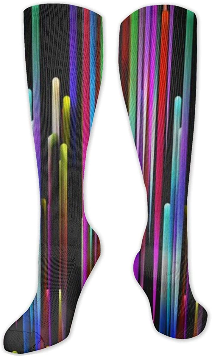 Rainbow Light Stick Knee High Socks Leg Warmer Dresses Long Boot Stockings For Womens Cosplay Daily Wear
