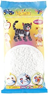 Hama - 205-01 - Loisirs Créatifs - Sachet 6000 Perles à Repasser - Taille Midi - Blanc