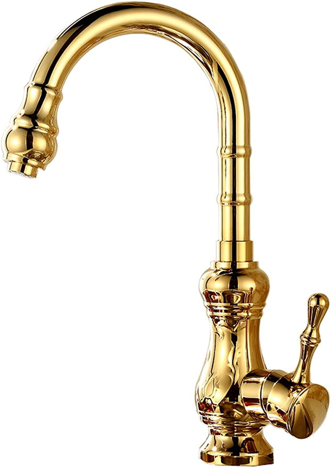 IBalody Antique gold Full Copper Hot and Cold Faucet Taps Retro Kitchen Sink Faucets Vintage 360° Swivel Wash Basin Brass Mixer Tap